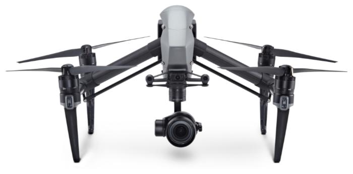 DJI Inspire 2 + Zenmuse X5S - полет: до 27мин., дальность 3500м по радиоканалу, высота 500м, скорость 26.11м/с