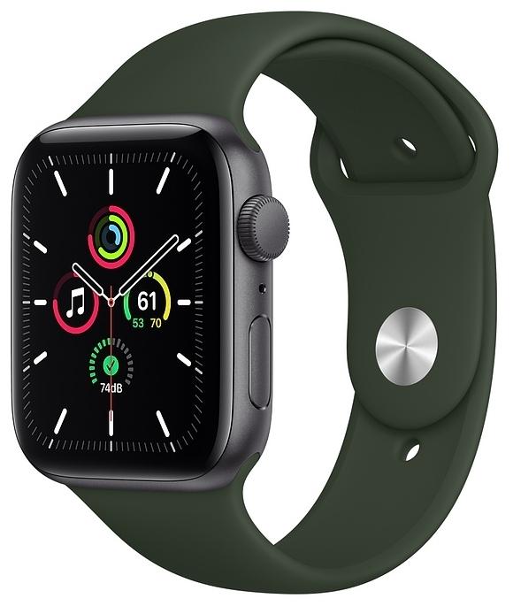 Apple Watch SE GPS 44мм Aluminum Case with Sport Band - датчики: акселерометр, гироскоп, высотомер, пульсометр с постоянным измереним пульса