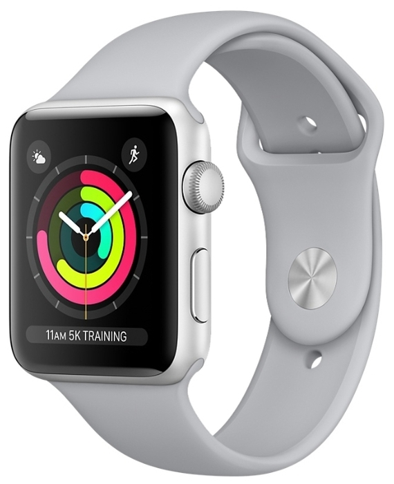 "Apple Watch Series 3 38мм Aluminum Case with Sport Band - экран: 1.5"" (272x340) OLED"