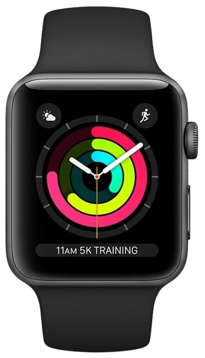 Apple Watch Series 3 38мм Aluminum Case with Sport Band - датчики: акселерометр, гироскоп, высотомер, пульсометр с постоянным измереним пульса