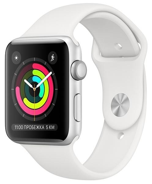 Apple Watch Series 3 42мм Aluminum Case with Sport Band - датчики: акселерометр, гироскоп, высотомер, пульсометр с постоянным измереним пульса