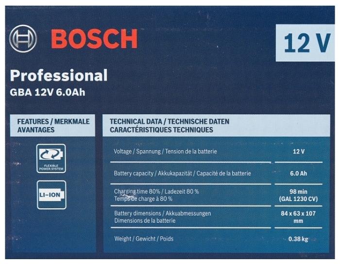 BOSCH 1600A00X7H Li-Ion 12 В 6 А·ч - тип аккумулятора: Li-Ion