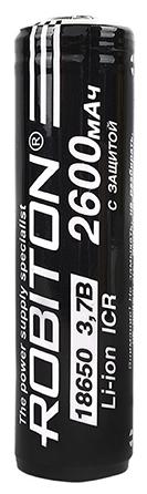 Li-Ion 2600 мА·ч ROBITON 18650-2600 с защитой - типоразмер: 18650