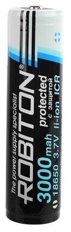 Li-Ion 3000 мА·ч ROBITON 18650-3000 с защитой - типоразмер: 18650