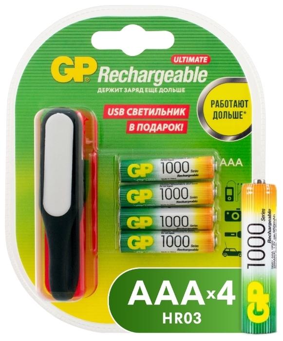 Ni-Mh 1000 мА·ч GP Rechargeable 1000 Series AAA + USB светильник - типоразмер: AAA