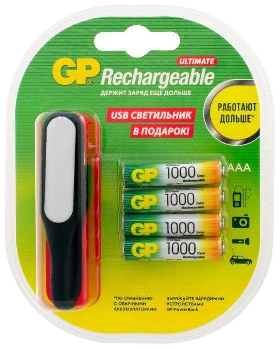 Ni-Mh 1000 мА·ч GP Rechargeable 1000 Series AAA + USB светильник - тип: аккумулятор