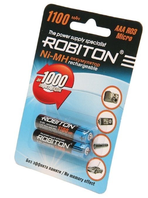 Ni-Mh 1100 мА·ч ROBITON AAA HR03 Micro 1100 - тип: аккумулятор