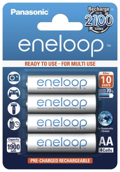 Ni-Mh 1900 мА·ч Panasonic eneloop AA - количество циклов заряда: 2100