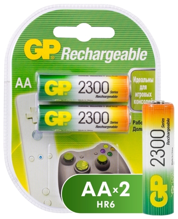 Ni-Mh 2300 мА·ч GP Rechargeable 2300 Series AA - типоразмер: AA