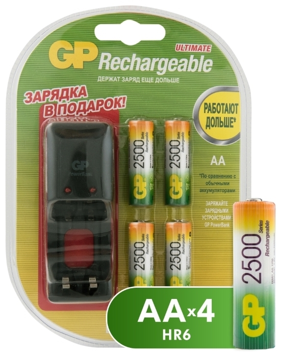 Ni-Mh 2500 мА·ч GP Rechargeable 2500 Series AA + зарядное устройство - типоразмер: AA