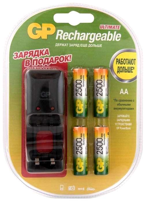 Ni-Mh 2500 мА·ч GP Rechargeable 2500 Series AA + зарядное устройство - тип: аккумулятор