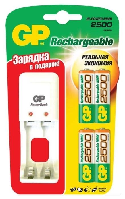 Ni-Mh 2500 мА·ч GP Rechargeable 2500 Series AA + зарядное устройство - технология: Ni-Mh