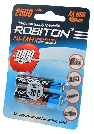 Ni-Mh 2500 мА·ч ROBITON AA HR6 Mignon 2500 - типоразмер: AA