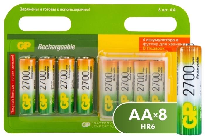Ni-Mh 2650 мА·ч GP Rechargeable 2700 Series AA + футляр - типоразмер: AA