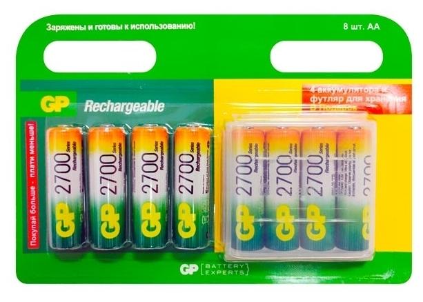 Ni-Mh 2650 мА·ч GP Rechargeable 2700 Series AA + футляр - тип: аккумулятор