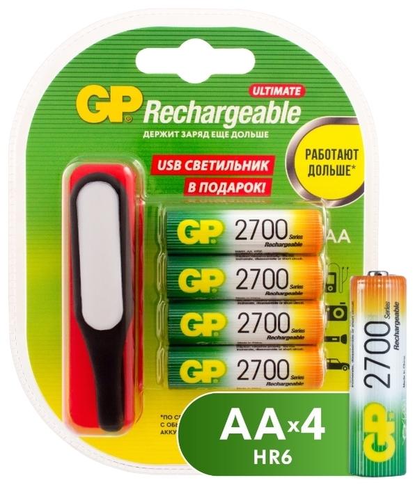 Ni-Mh 2700 мА·ч GP Rechargeable 2700 Series AA + USB светильник - типоразмер: AA