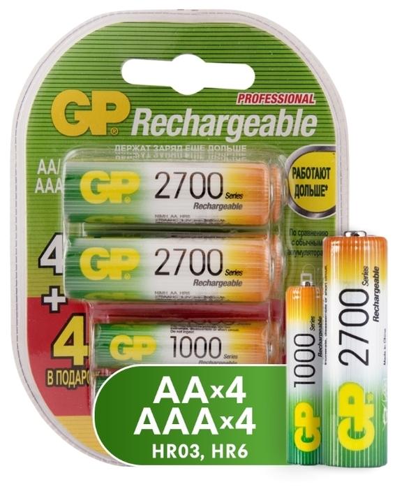 Ni-Mh GP Rechargeable 2700 Series AA + Rechargeable 1000 Series AAA - типоразмер: AAA, AA
