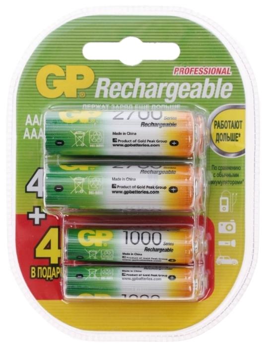 Ni-Mh GP Rechargeable 2700 Series AA + Rechargeable 1000 Series AAA - тип: аккумулятор