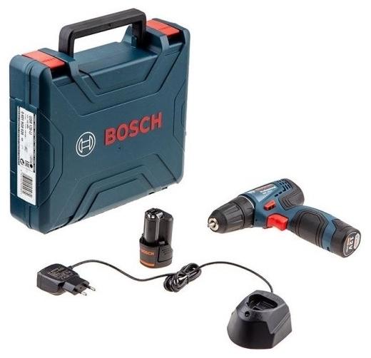 BOSCH GSR 120-LI, 12 В, 2.0 А·ч х2, кейс - количество аккумуляторов: 2шт.