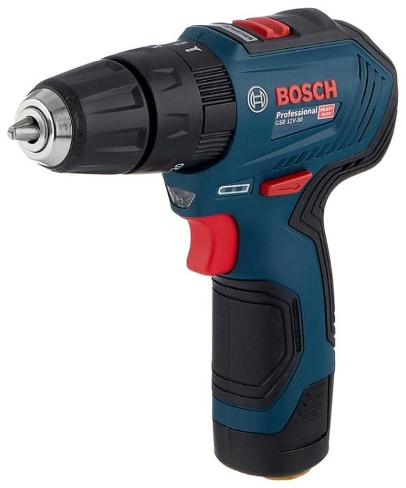BOSCH GSB 12V-30 Li-Ion 2.0 А-ч 12 В х2 кейс - напряжение аккумулятора: 12В