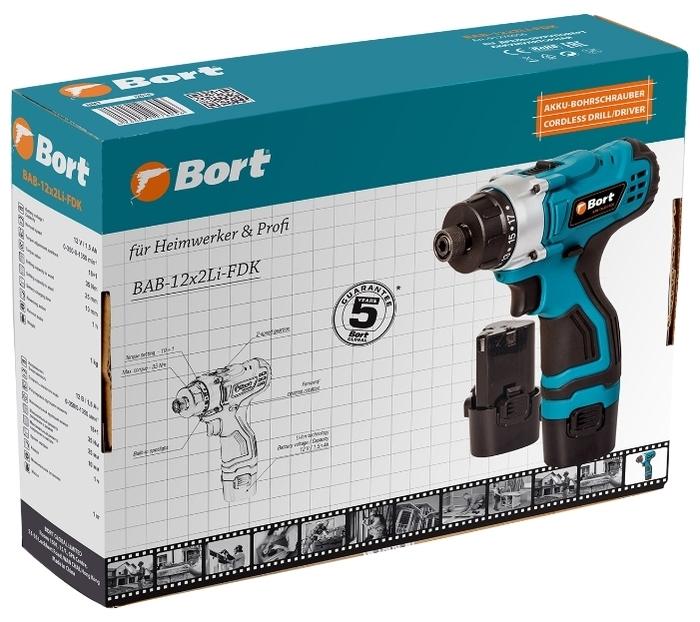 Bort BAB-12X2LI-FDK - особенности конструкции: использование бит без патрона, лампа точечной подсветки, блокировка кнопки включения, регулировка частоты вращения