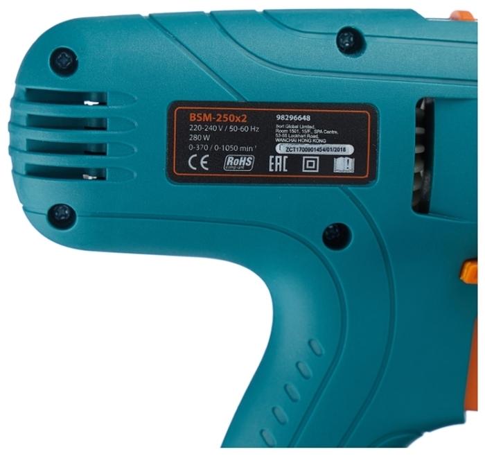Bort BSM-250x2, 280 Вт - макс. число оборотов холостого хода: 1050об/мин