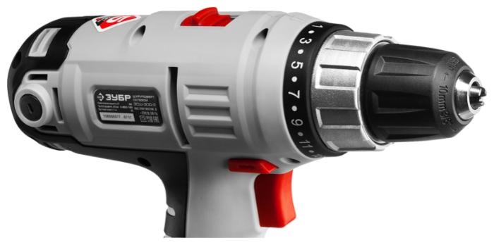 ЗУБР ЗСШ-300-2 К, 300 Вт - особенности конструкции: блокировка кнопки включения, регулировка частоты вращения