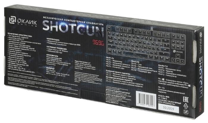 OKLICK 969G SHOTGUN Black USB - кабель: USB (1.5м)
