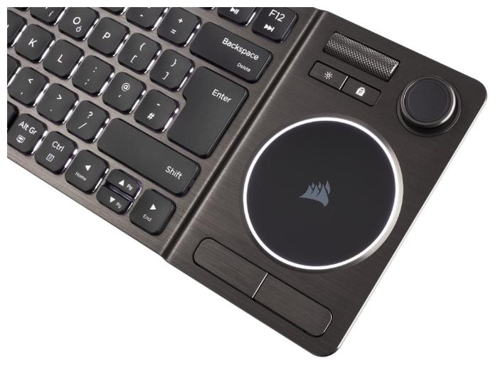 Corsair K83 Wireless Entertainment Backlit White USB - особенности: регулятор уровня громкости, тачпад