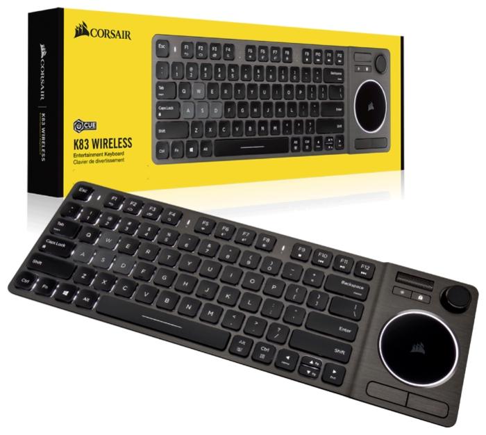 Corsair K83 Wireless Entertainment Backlit White USB - размеры: 381x28x125мм, вес: 480г