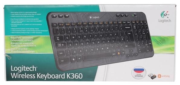 Logitech Wireless Keyboard K360 920-003095 Black USB - источник питания: 2xAA