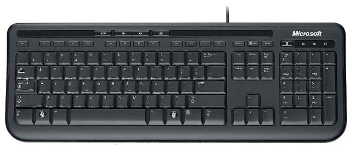 Microsoft Wired Keyboard 600 Black USB - тип: мембранная