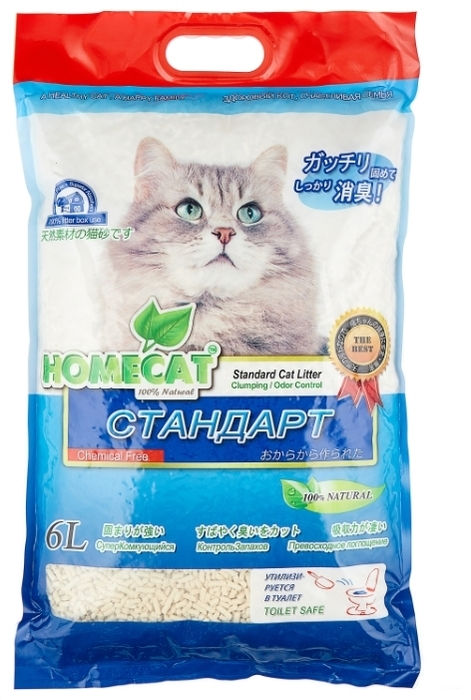 Homecat Эколайн Стандарт, 6 л - кукурузный