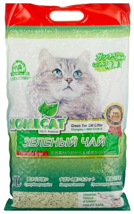 Homecat Эколайн Зеленый чай, 6 л - биоразлагаемый, с защитой от запаха, гипоаллергенный, смываемый