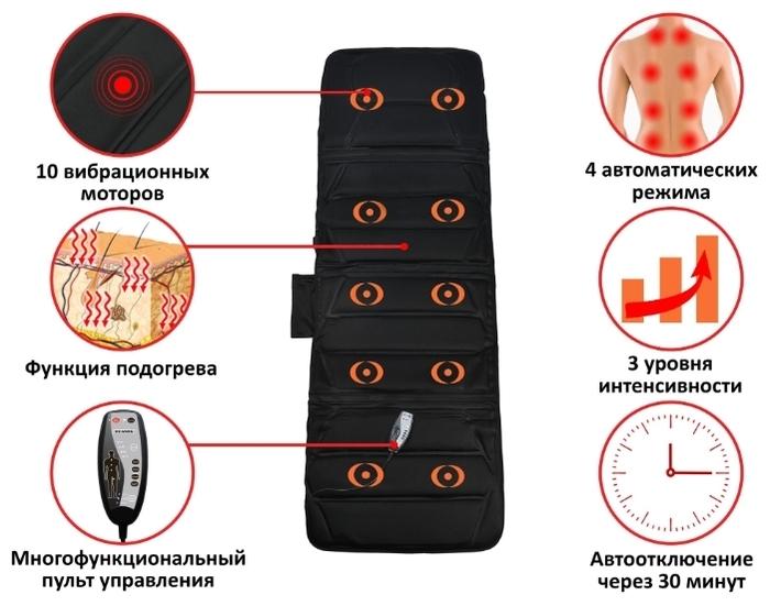 PLANTA MM-3000B 166x58 см - регулировки: интенсивность массажа