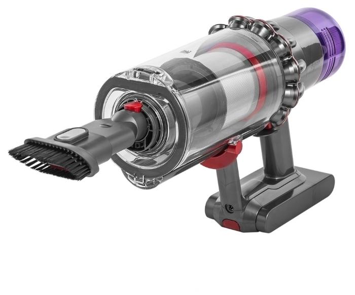 Dyson V11 Absolute Extra - индикатор заполнения пылесборника, регулятор мощности на корпусе