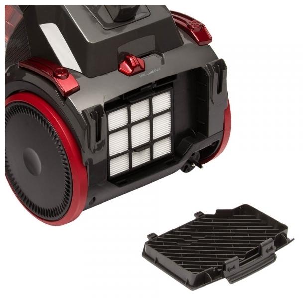 REDMOND RV-C335 - особенности: индикатор заполнения пылесборника, регулятор мощности на корпусе