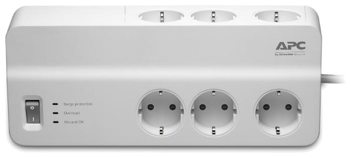 APC by Schneider Electric PM6-RS, 6 розеток, 2 м, с/з, 10А - световая индикация