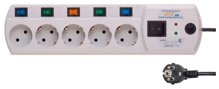 MOST Elite EHV, белый, 5 розеток, 5 м, с/з 2200 Вт - выключатель на корпусе