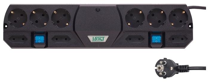 MOST Tandem TRG, черный, 10 розеток, 2 м, с/з 2200 Вт - выключатель на корпусе