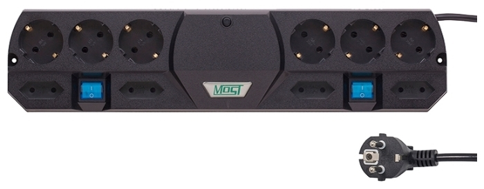 MOST Tandem TRG, черный, 10 розеток, 5 м, с/з 2200 Вт - выключатель на корпусе