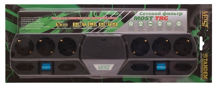 MOST Tandem TRG, черный, 10 розеток, 5 м, с/з 2200 Вт - световая индикация