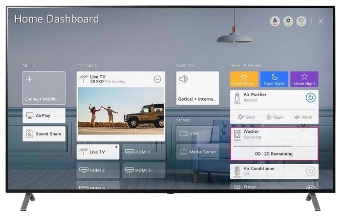 "NanoCell LG 55NANO906 55"" (2020) - платформа Smart TV: webOS"
