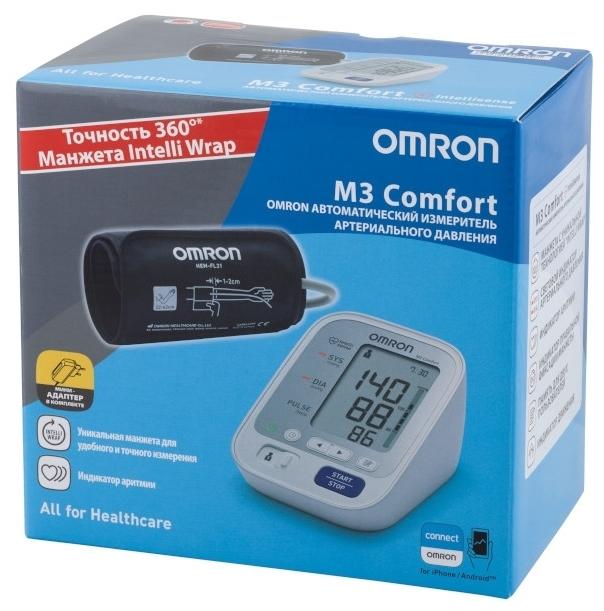 Omron M3 Comfort + адаптер + универсальная манжета (HEM-7134-ALRU) - особенности: шкала ВОЗ, фиксация даты и времени
