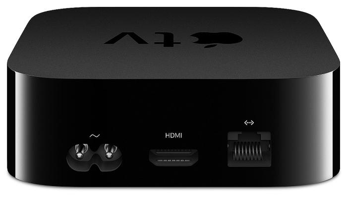 Apple TV Gen 4 32GB - разъемы: HDMI 1.4, Ethernet 10/100, выход HDMI