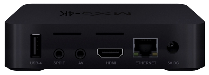MXQ 4K RK3229 - разъемы: HDMI 2.0, USB 2.0Type A, Ethernet 10/100, выход аудио стерео, выход аудио коаксиальный, выход видео композитный, выход HDMI