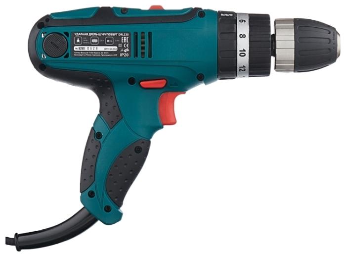 Hammer DRL320 PREMIUM, 320 Вт - особенности конструкции: блокировка кнопки включения, регулировка частоты вращения