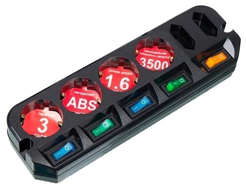 MOST Active A16, черный, 6 розеток, 1.6 м, с/з 3500 Вт - выключатель на корпусе