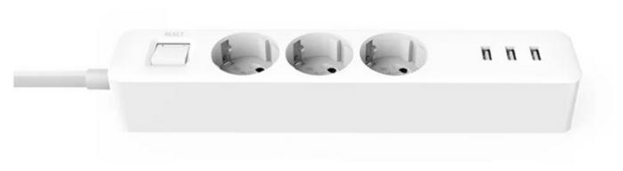 Xiaomi Mi Power Strip 3 (XMCXB04QM), белый, 3 розетки, 1.4 м, 16А / 3680 Вт - шторки на розетке