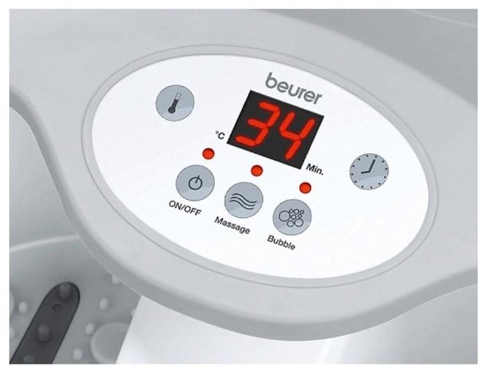 Beurer FB50 - функции: автоотключение, эффект водоворота, магнитное воздействие, подогрев воды, таймер, поддержание температуры воды, использование без воды, инфракрасный излучатель